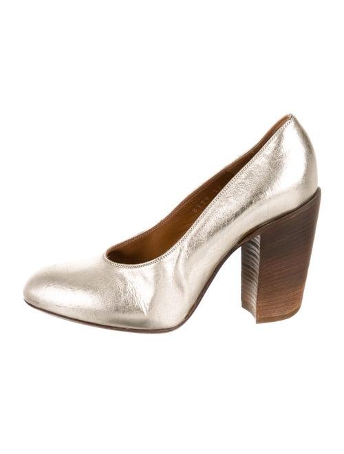9858ebda65 Dries Van Noten Metallic Leather Round-Toe Pumps - Shoes - DRI52046 ...