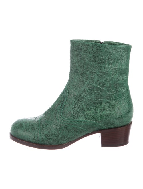 Dries Van Noten Leather Ankle Boots green