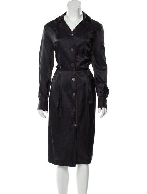 Dries Van Noten Satin Shirt Dress Black