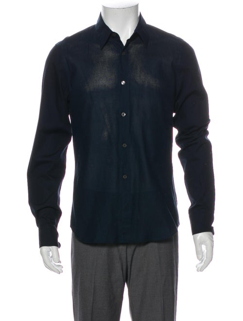 Dries Van Noten Long Sleeve Dress Shirt Blue