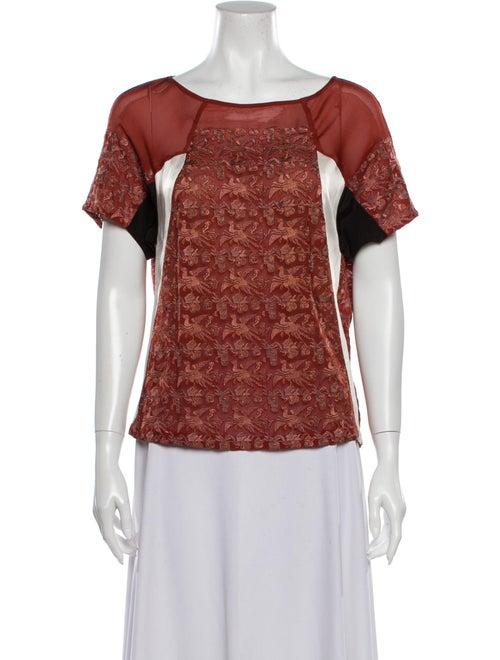 Dries Van Noten Silk Printed T-Shirt Red - image 1