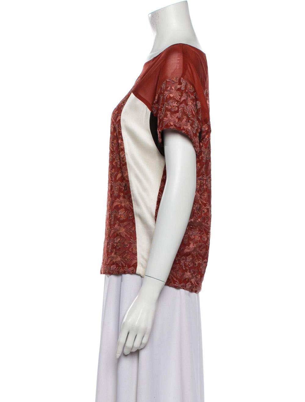 Dries Van Noten Silk Printed T-Shirt Red - image 2