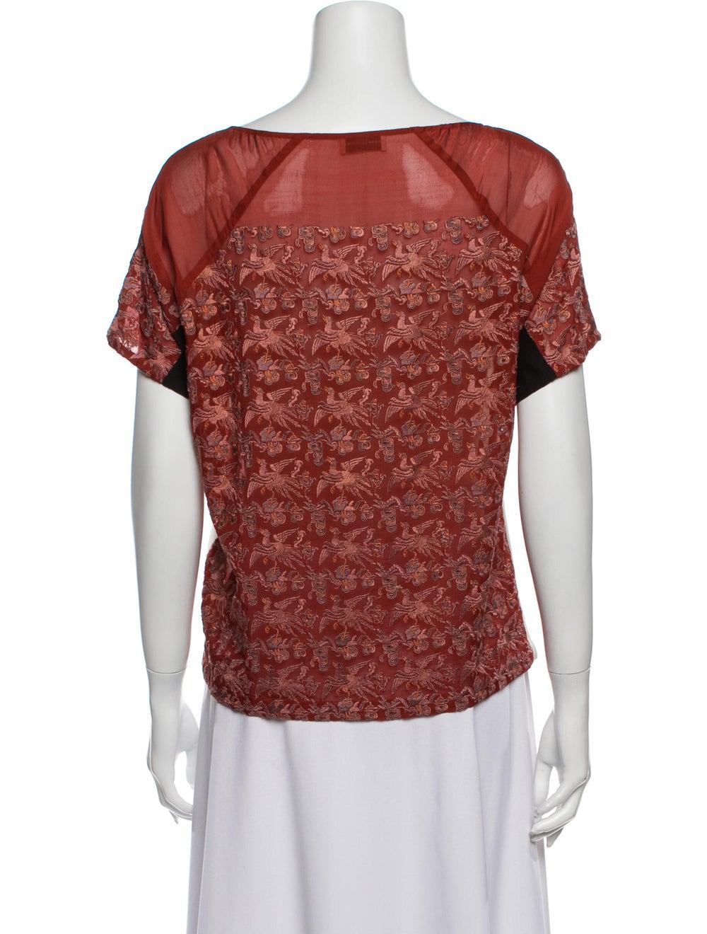 Dries Van Noten Silk Printed T-Shirt Red - image 3