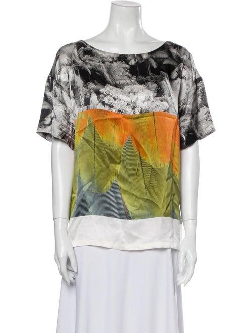Dries Van Noten Silk Printed T-Shirt Green