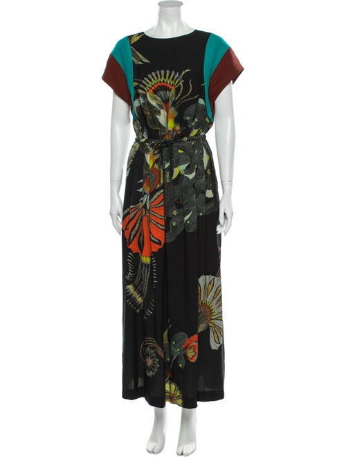 Dries Van Noten Printed Long Dress w/ Tags Black