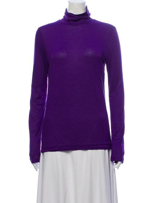 Dries Van Noten Turtleneck Long Sleeve Top Purple
