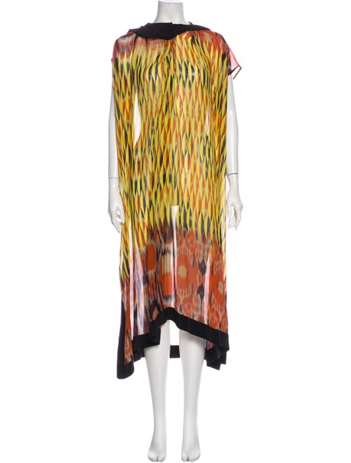 Dries Van Noten Silk Midi Length Dress Yellow