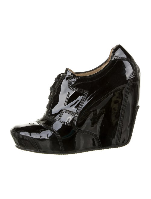 Dries Van Noten Patent Leather Lace-Up Boots Black