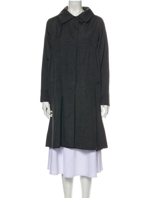 Dries Van Noten Silk Trench Coat Grey