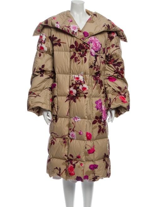 Dries Van Noten Floral Print Down Coat Pink