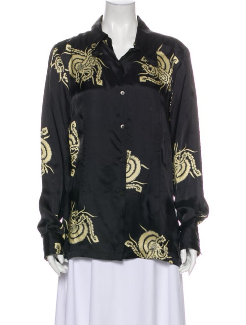 Dries Van Noten Printed Long Sleeve Button-Up Top