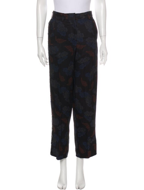 Dries Van Noten Printed Straight Leg Pants Blue