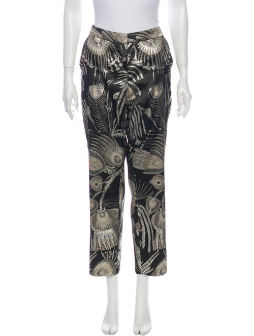 Dries Van Noten Printed Straight Leg Pants Black
