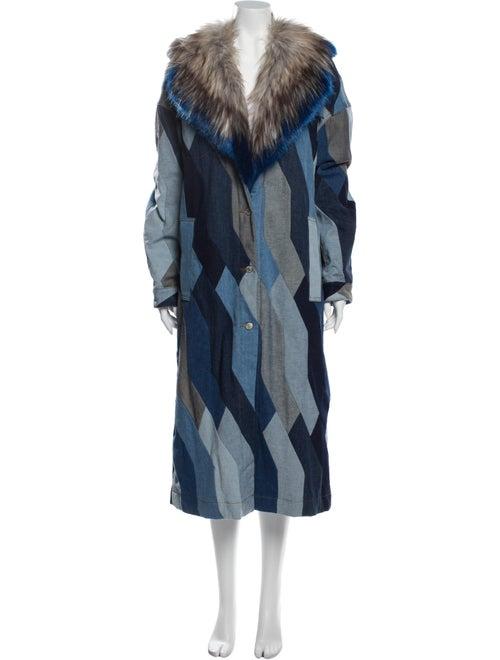 Dries Van Noten Printed Coat Blue