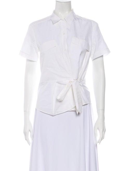 Dries Van Noten Short Sleeve Button-Up Top White