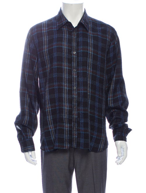 Dries Van Noten Silk Plaid Print Shirt Blue - image 1