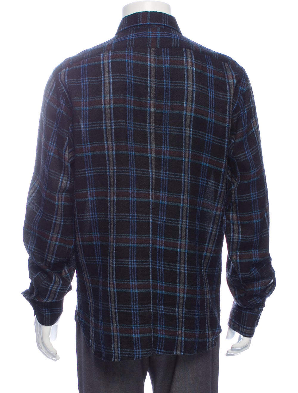 Dries Van Noten Silk Plaid Print Shirt Blue - image 3