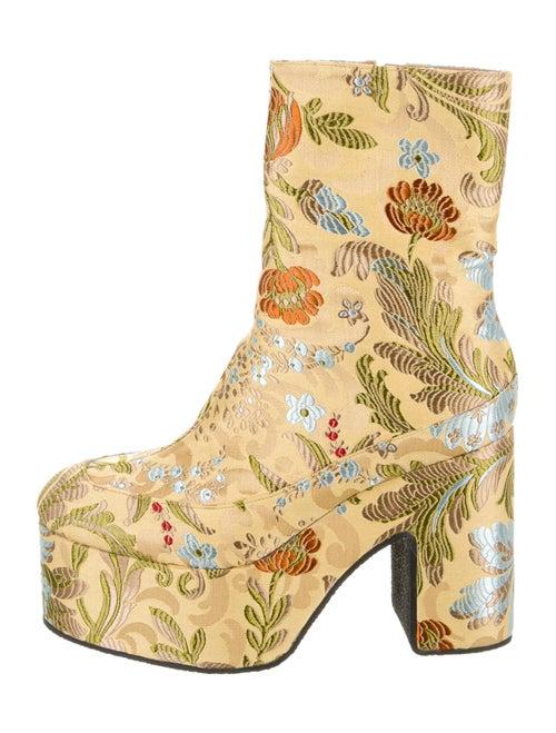 Dries Van Noten Floral Print Boots Yellow
