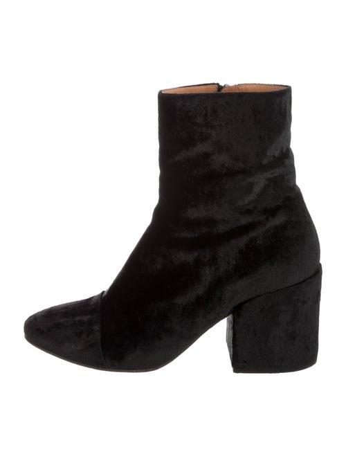 Dries Van Noten Velvet Ankle Boots Black