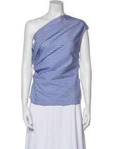Dries Van Noten Striped One-Shoulder Top