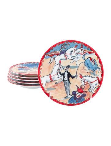 Philippe deshoulieres set of 6 le cirque canap plates for Philippe deshoulieres canape plates