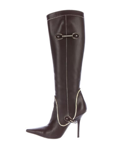Dsquared² Leather Knee-High Boots