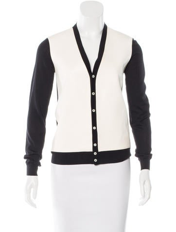 Dsquared² Leather-Paneled Virgin Wool Cardigan None