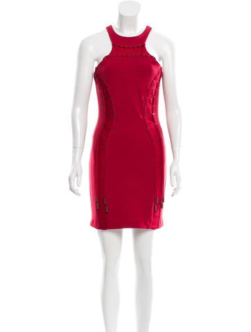 Dsquared² Silk-Paneled Embellished Dress w/ Tags None
