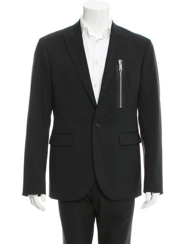 Dsquared² Leather-Trimmed Wool Blazer w/ Tags None