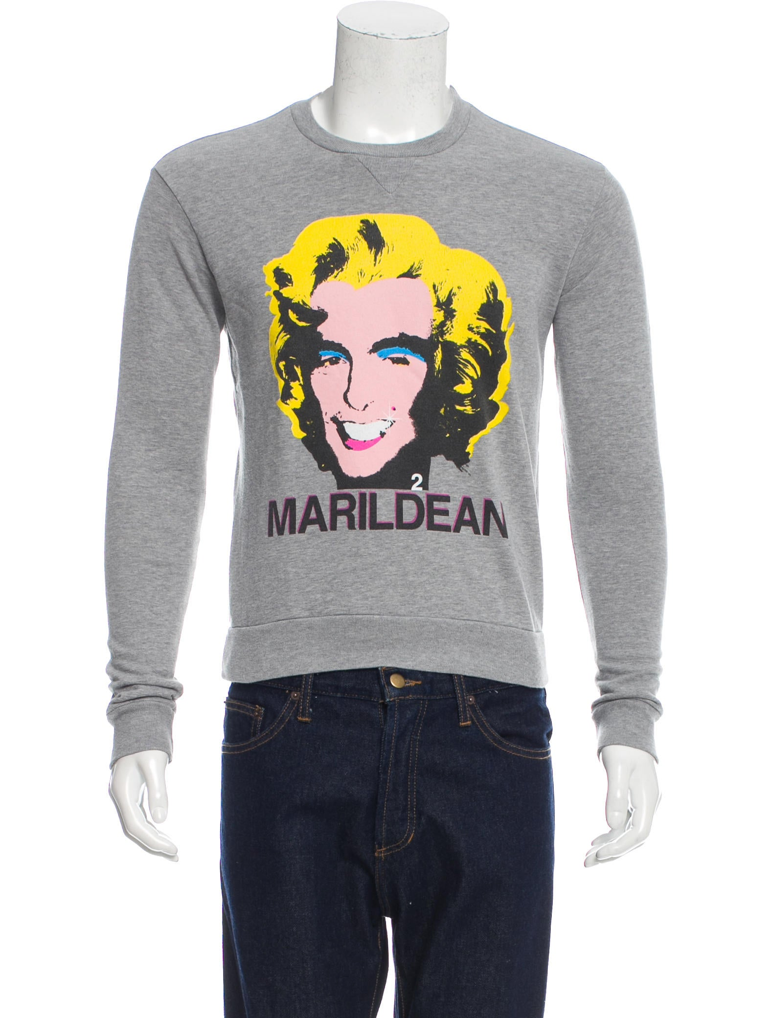 Men's black Galliano sweatshirt with crew neck, long sleeves and multicolor print at center front.