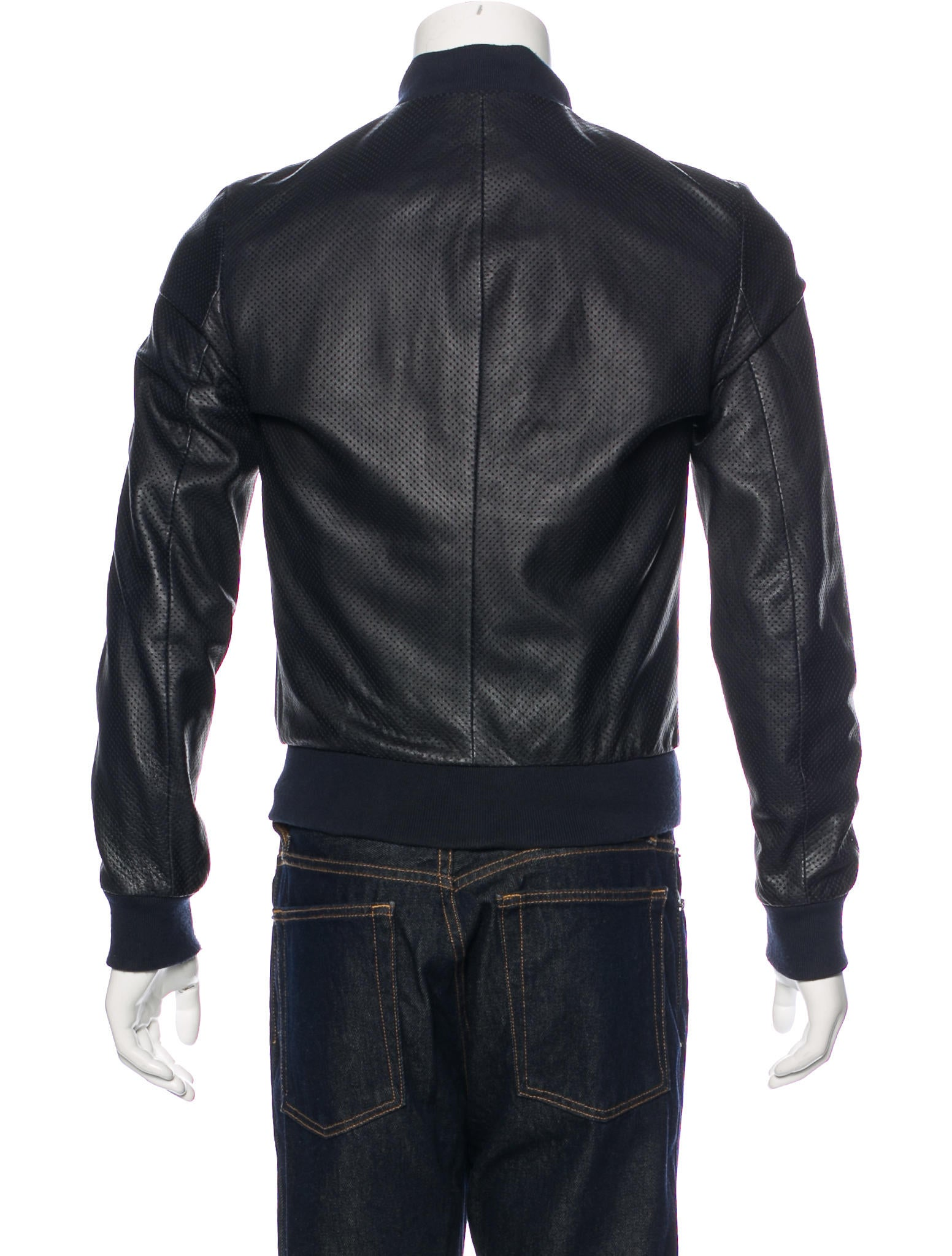 Perforated leather jacket