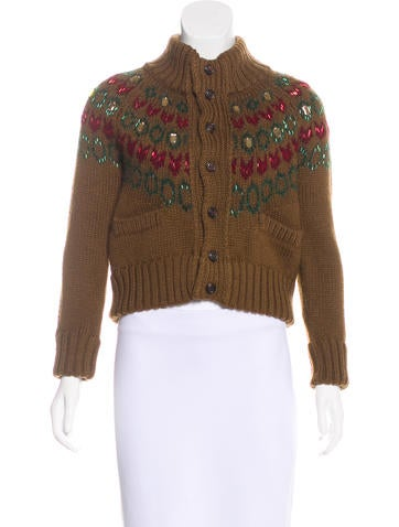 Dsquared² Wool & Mohair Beaded Cardigan None