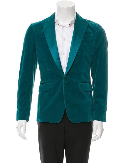 Dsquared² Velvet Tuxedo Jacket turquoise