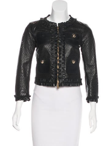 Dsquared² Perforated Leather Jacket None