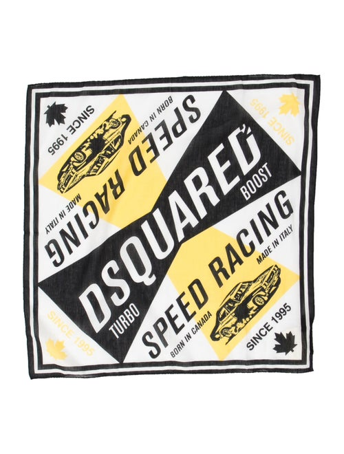 Logo Print Woven Pocket Square w/ Tags