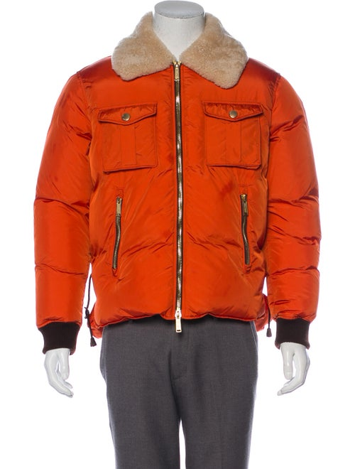 Dsquared² Shearling-Trimmed Down Jacket orange