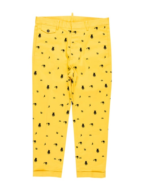 Dsquared² Cropped Embroidered Pants yellow