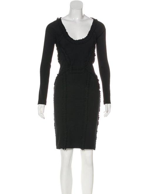 Dsquared² Ruffle-Accented Midi Dress Black