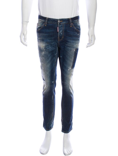 Dsquared² Distressed Patchwork Jeans blue