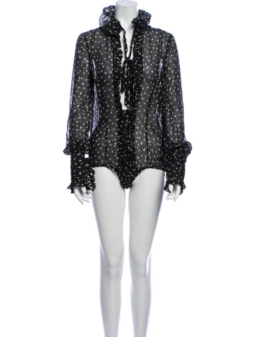 Dsquared² Silk Printed Bodysuit Black