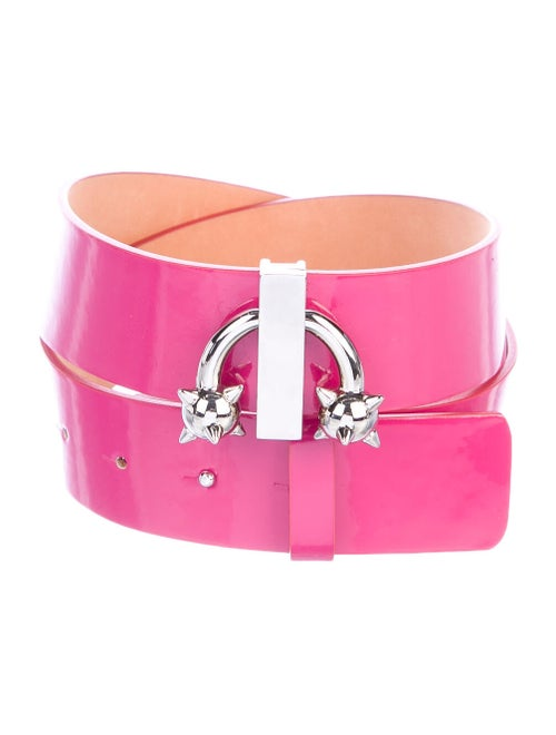 Dsquared² Patent Leather Embellished Belt Pink