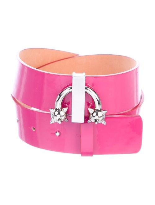 Dsquared² Patent Leather Embellished Belt Pink