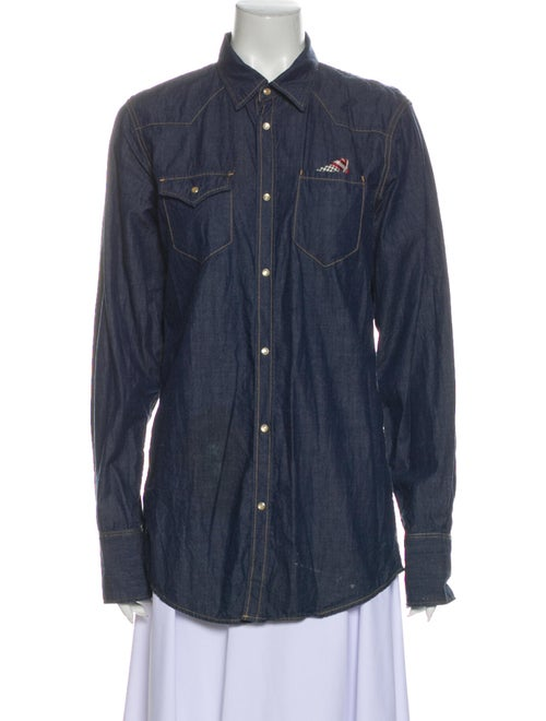 Dsquared² Long Sleeve Button-Up Top Blue