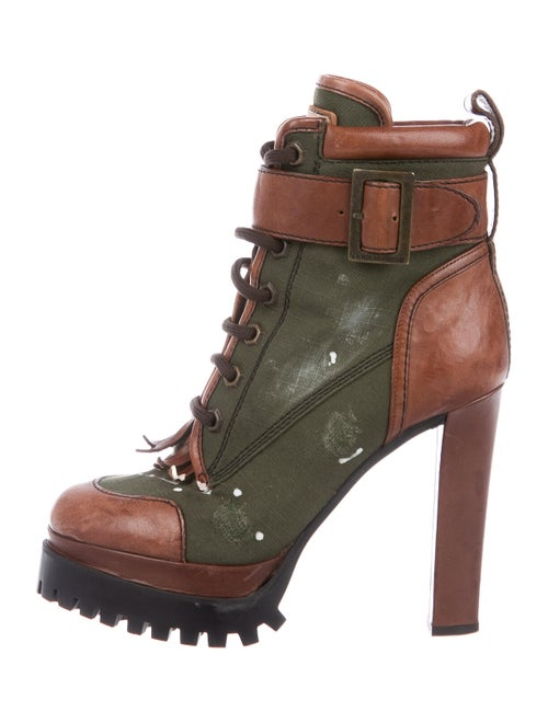 Dsquared² Distressed Printed Combat Boots Green