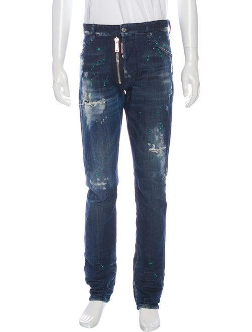 Dsquared² Distressed Paint Splatter Skinny Jeans B