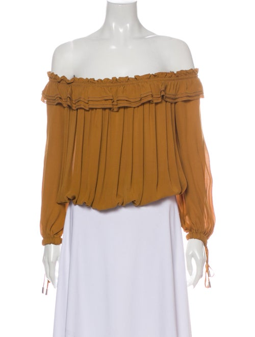 Dsquared² Silk Off-The-Shoulder Blouse Yellow