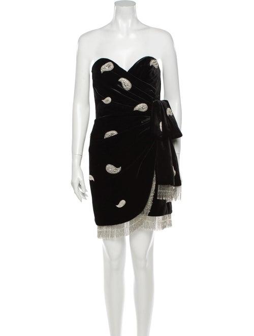 Dundas Paisley Print Mini Dress Black - image 1