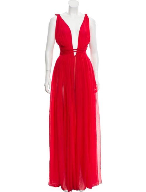 Dundas Silk Sleeveless Gown Red