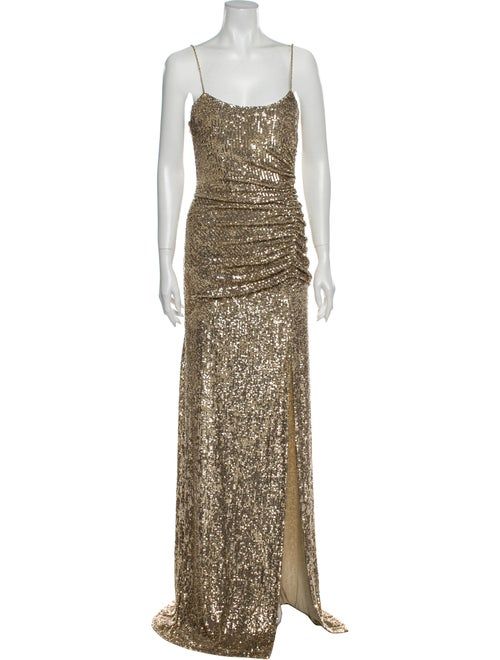 Dundas Square Neckline Long Dress Gold