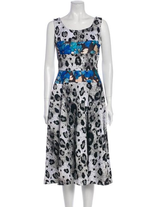 Duro Olowu Animal Print Midi Length Dress White